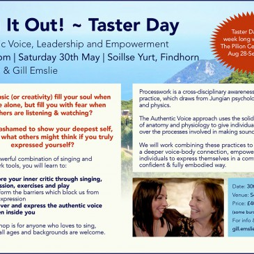 Sing It Out! ~ Taster Day Findhorn – 30/05/15